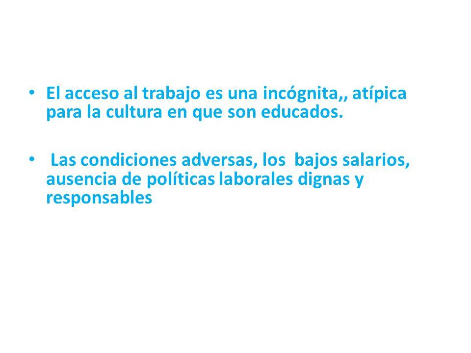 El acceso al trabajo es una incógnita,, atípica para la cultura en que son educados. Las condiciones adversas, los bajos salarios, ausencia de polític
