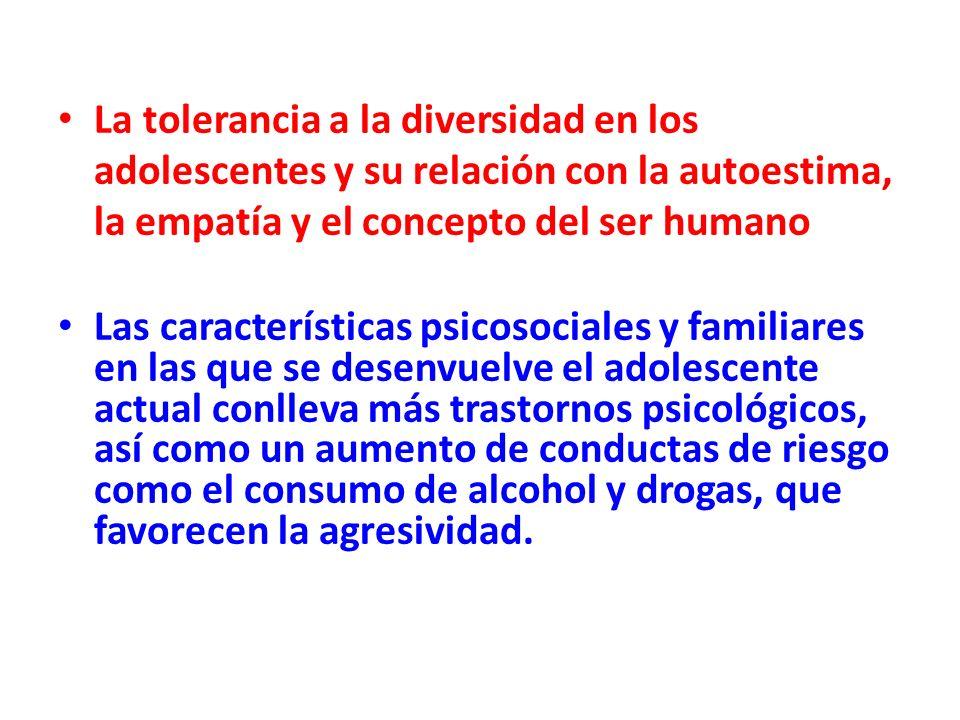 La tolerancia a la diversidad en los adolescentes y su relación con la autoestima, la empatía y el concepto del ser humano Las características psicoso