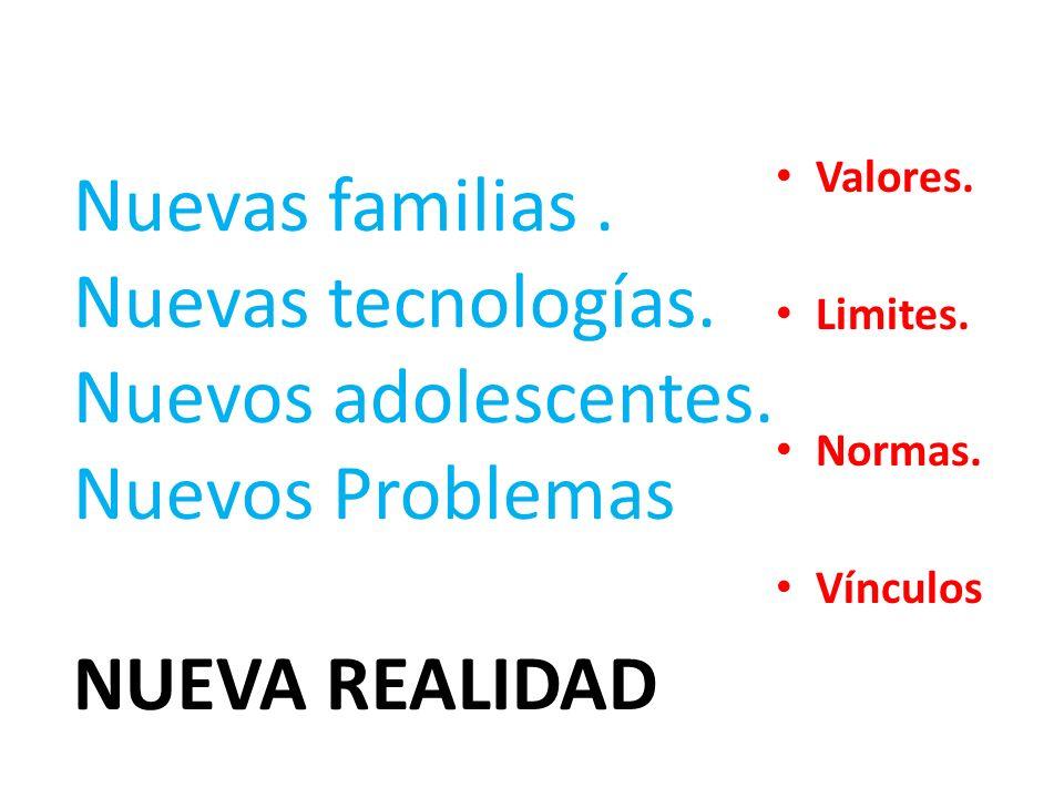 Valores. Limites. Normas. Vínculos Nuevas familias. Nuevas tecnologías. Nuevos adolescentes. Nuevos Problemas NUEVA REALIDAD