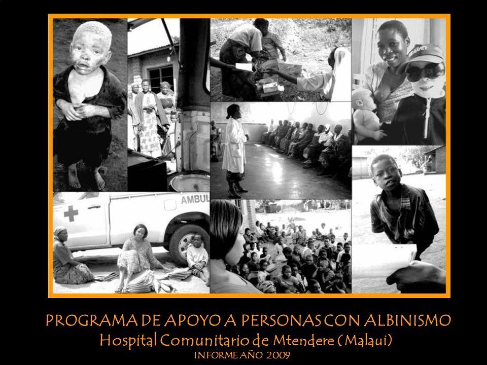 SALUD Los albinos recogen en el centro el material de apoyo (lociones solares, gafas de sol, sombreros, paraguas, etc.) El tiempo les ha hecho ganar en responsabilidad y concienciación, lo cual se ve reflejado en la mejora del estado de su piel.