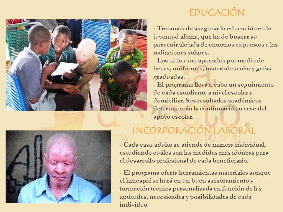 EDUCACIÓN - Tratamos de asegurar la educación en la juventud albina, que ha de buscar su porvenir alejada de entornos expuestos a las radiaciones sola