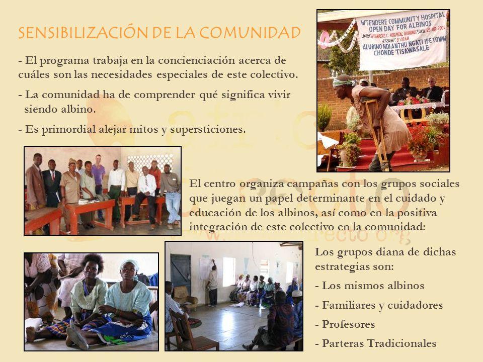 SENSIBILIZACIÓN DE LA COMUNIDAD - El programa trabaja en la concienciación acerca de cuáles son las necesidades especiales de este colectivo. - La com