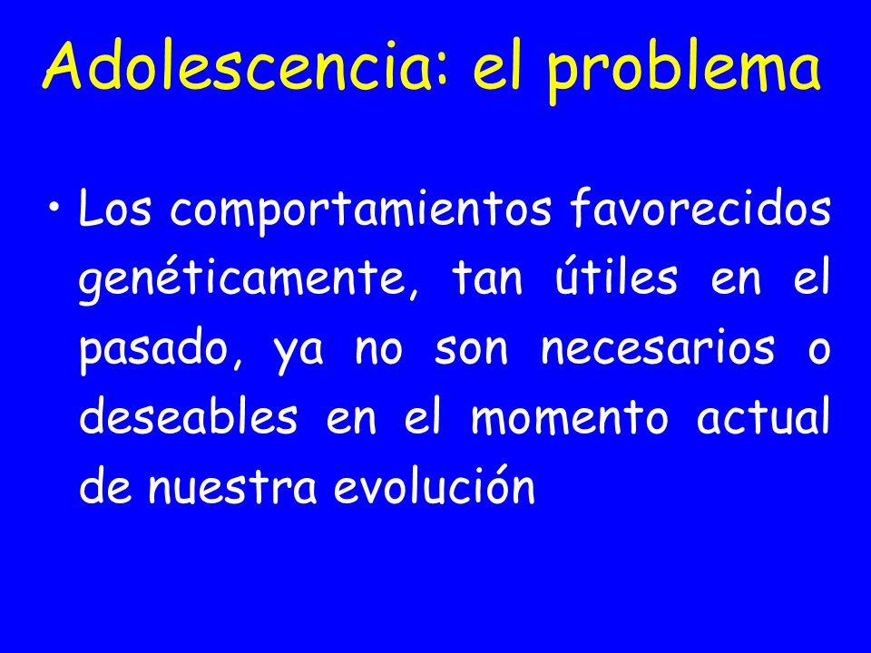 Adolescencia: el problema Los comportamientos favorecidos genéticamente, tan útiles en el pasado, ya no son necesarios o deseables en el momento actua