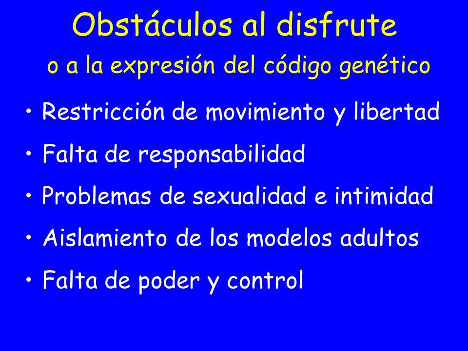 Obstáculos al disfrute o a la expresión del código genético Restricción de movimiento y libertad Falta de responsabilidad Problemas de sexualidad e in