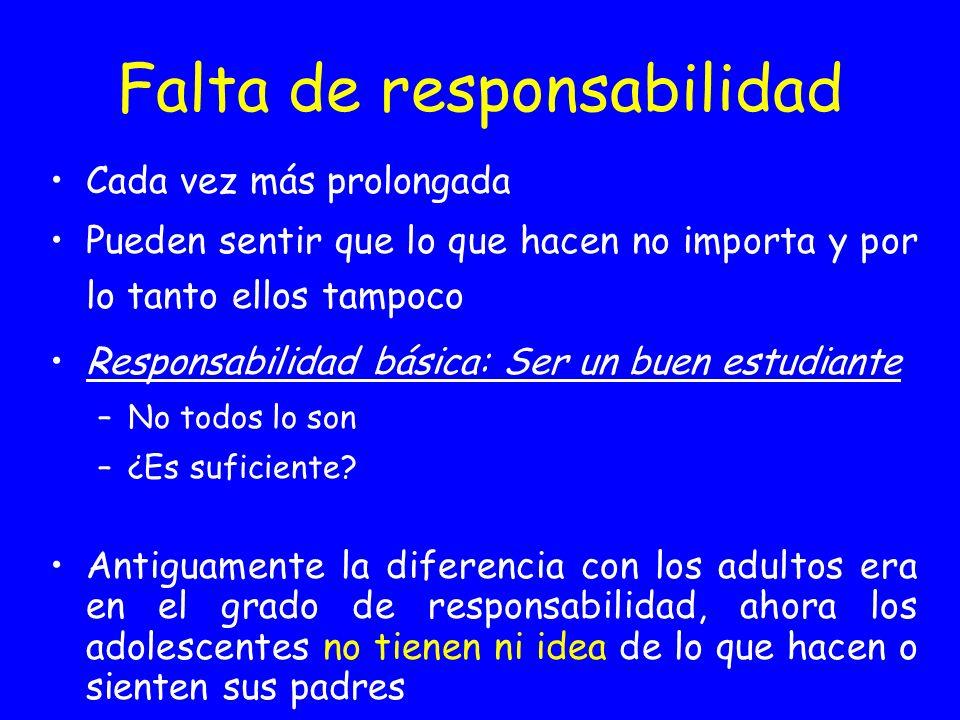 Falta de responsabilidad Cada vez más prolongada Pueden sentir que lo que hacen no importa y por lo tanto ellos tampoco Responsabilidad básica: Ser un