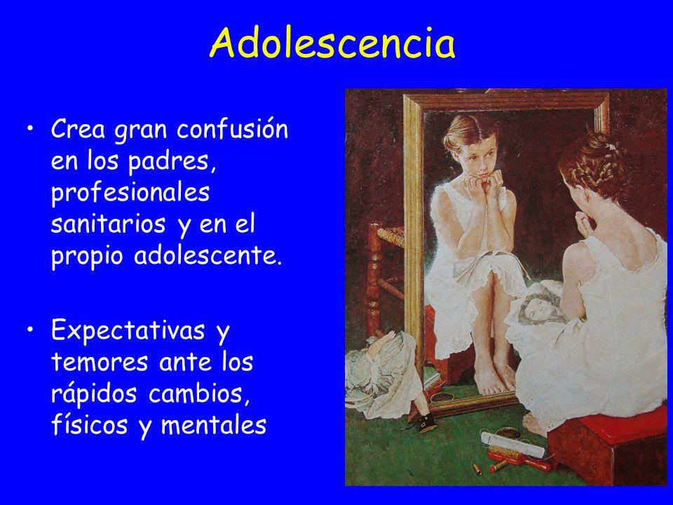 Adolescencia Crea gran confusión en los padres, profesionales sanitarios y en el propio adolescente. Expectativas y temores ante los rápidos cambios,