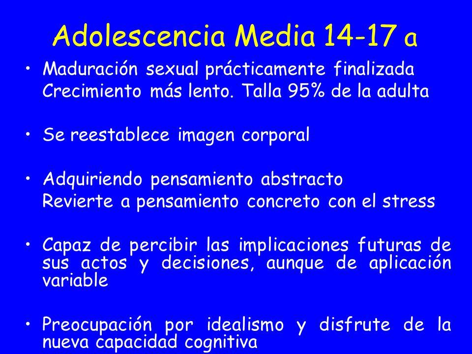 Adolescencia Media 14-17 a Maduración sexual prácticamente finalizada Crecimiento más lento. Talla 95% de la adulta Se reestablece imagen corporal Adq
