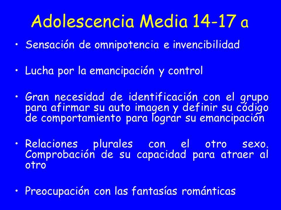 Adolescencia Media 14-17 a Sensación de omnipotencia e invencibilidad Lucha por la emancipación y control Gran necesidad de identificación con el grup