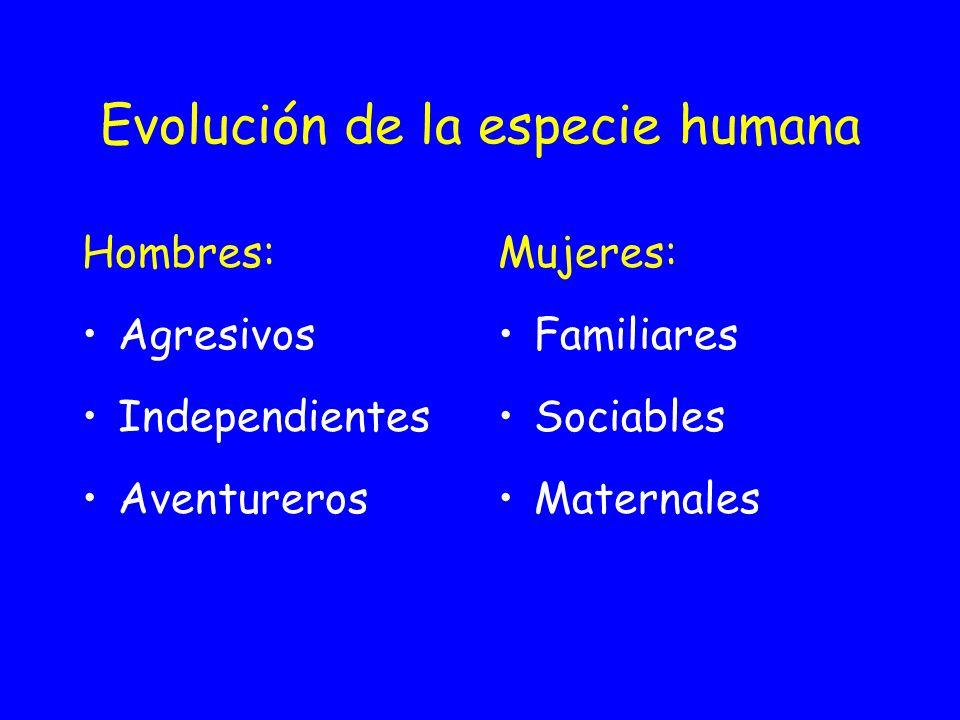 Evolución de la especie humana Hombres: Agresivos Independientes Aventureros Mujeres: Familiares Sociables Maternales