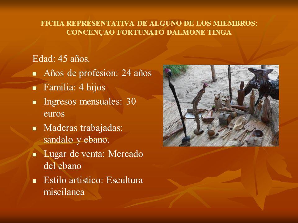 FICHA REPRESENTATIVA DE ALGUNO DE LOS MIEMBROS: CONCENÇAO FORTUNATO DALMONE TINGA Edad: 45 años.
