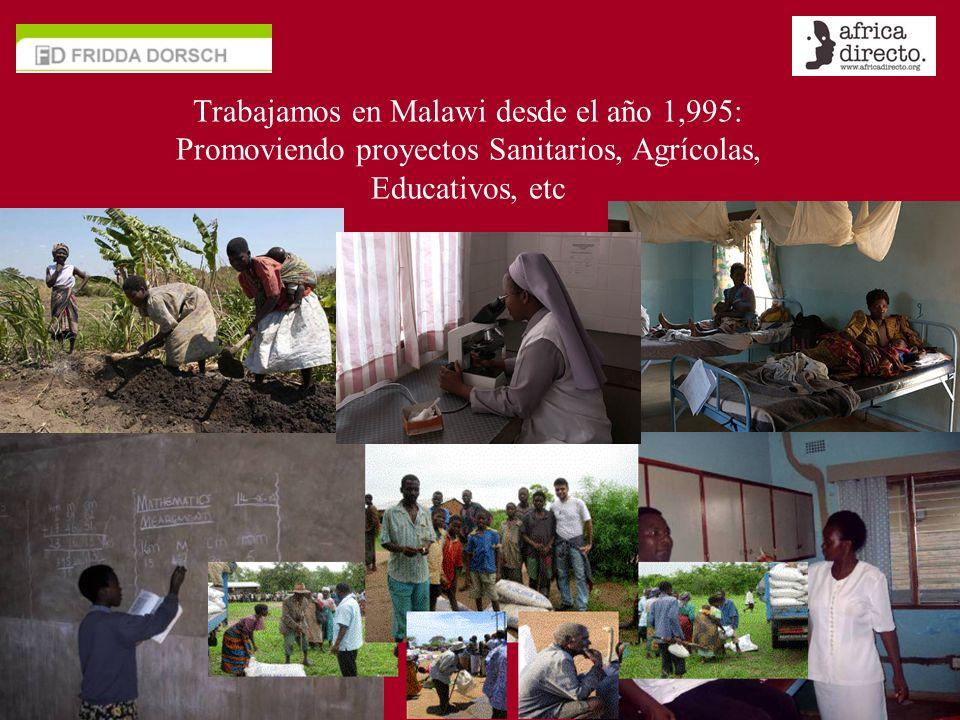 Trabajamos en Malawi desde el año 1,995: Promoviendo proyectos Sanitarios, Agrícolas, Educativos, etc