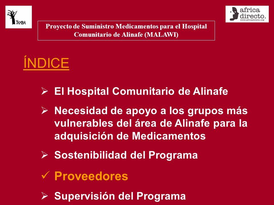 ÍNDICE El Hospital Comunitario de Alinafe Necesidad de apoyo a los grupos más vulnerables del área de Alinafe para la adquisición de Medicamentos Sostenibilidad del Programa Proveedores Supervisión del Programa Proyecto de Suministro Medicamentos para el Hospital Comunitario de Alinafe (MALAWI)