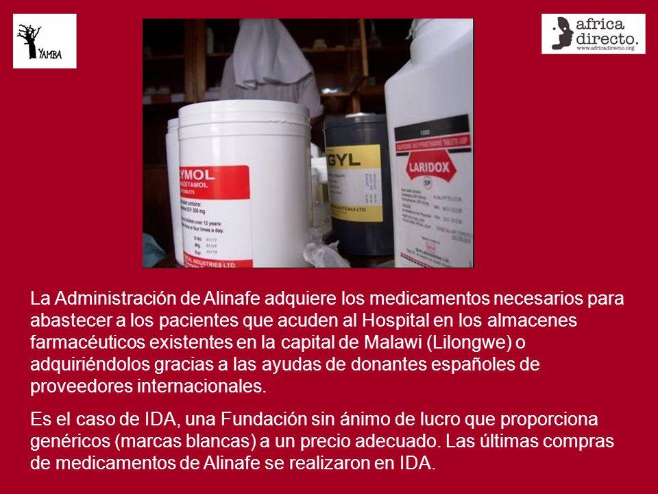 La Administración de Alinafe adquiere los medicamentos necesarios para abastecer a los pacientes que acuden al Hospital en los almacenes farmacéuticos existentes en la capital de Malawi (Lilongwe) o adquiriéndolos gracias a las ayudas de donantes españoles de proveedores internacionales.