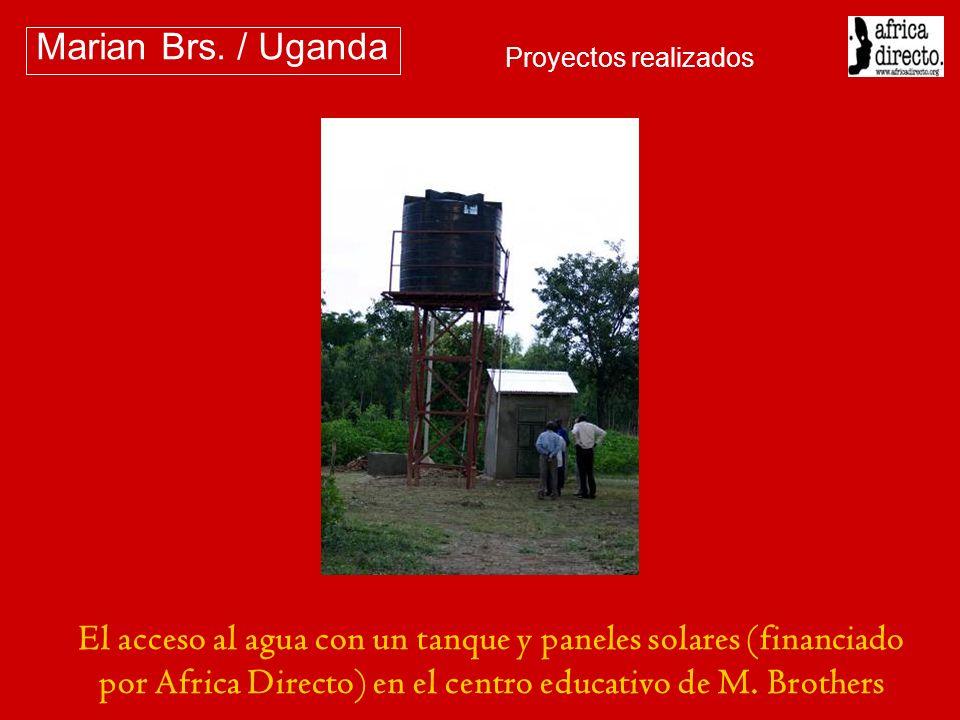 El acceso al agua con un tanque y paneles solares (financiado por Africa Directo) en el centro educativo de M. Brothers Marian Brs. / Uganda Proyectos