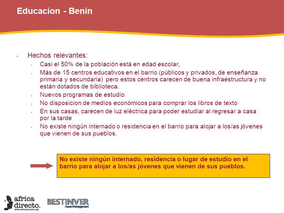 Educacion - Benin Hechos relevantes: Casi el 50% de la población está en edad escolar, Más de 15 centros educativos en el barrio (públicos y privados,