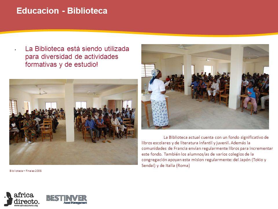 Educacion - Biblioteca La Biblioteca está siendo utilizada para diversidad de actividades formativas y de estudio! Biblioteca – Finales 2008 La Biblio