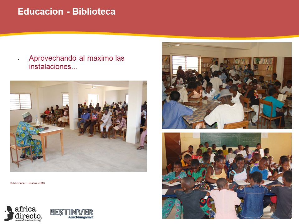 Educacion - Benin Gastos Africa Directo realizó tres pagos con la financiación obtenida de: FAA – Bestinver Los fondos obtenidos en un concierto de piano de Sylvia Toran Y con la donación de los derechos de autor del último libro del Dr.