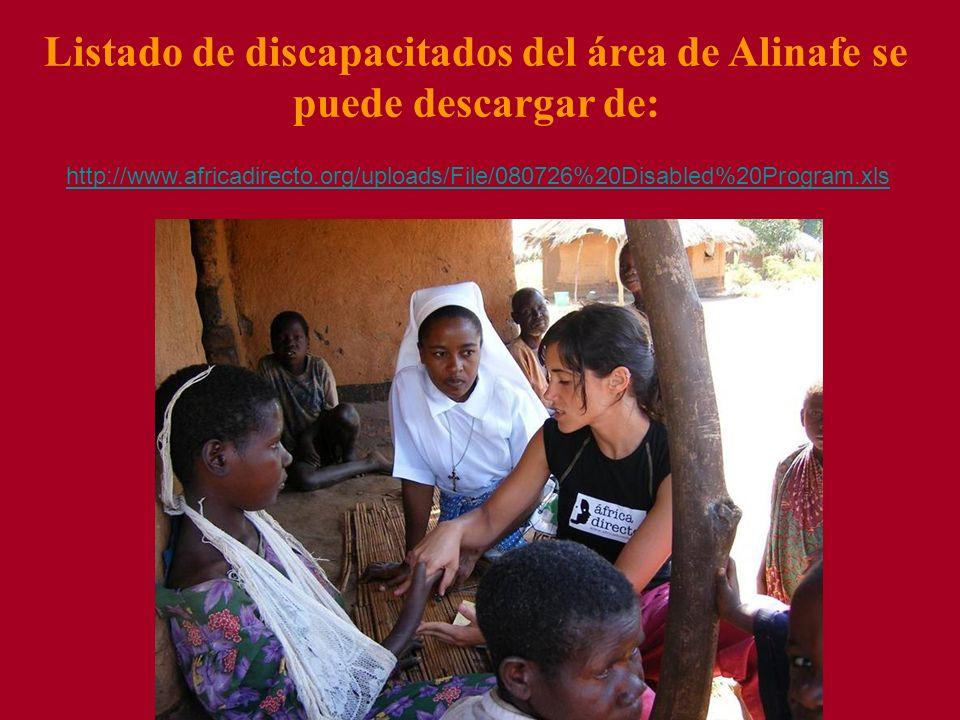Listado de discapacitados del área de Alinafe se puede descargar de: http://www.africadirecto.org/uploads/File/080726%20Disabled%20Program.xls