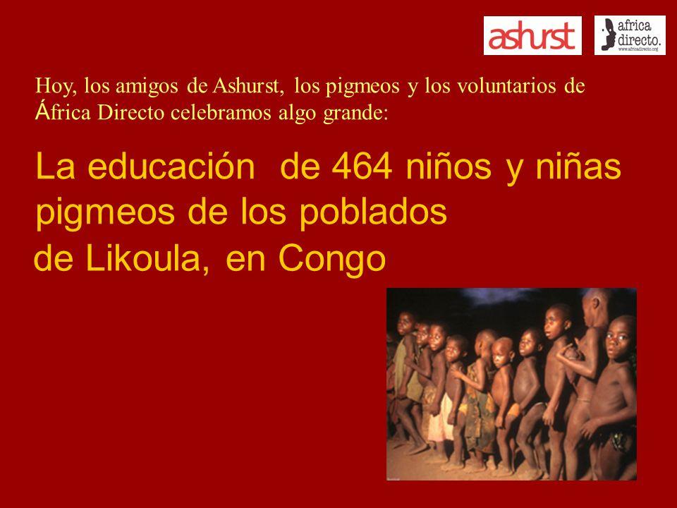 Hoy, los amigos de Ashurst, los pigmeos y los voluntarios de Á frica Directo celebramos algo grande: La educación de 464 niños y niñas pigmeos de los poblados de Likoula, en Congo
