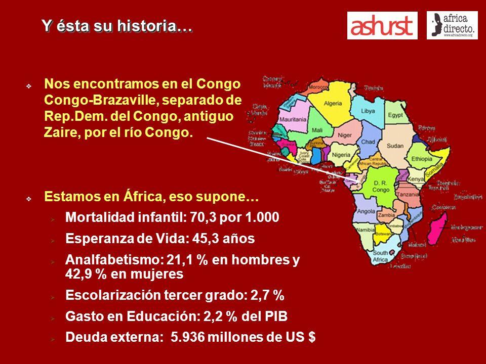 Y ésta su historia… Nos encontramos en el Congo Congo-Brazaville, separado de Rep.Dem. del Congo, antiguo Zaire, por el río Congo. Estamos en África,