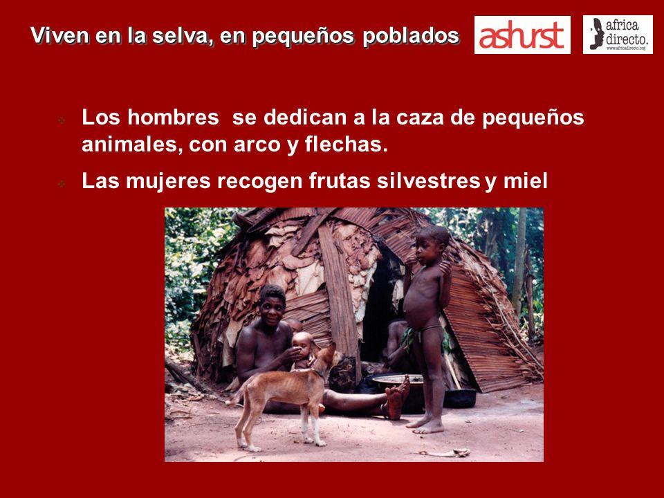 Viven en la selva, en pequeños poblados Los hombres se dedican a la caza de pequeños animales, con arco y flechas. Las mujeres recogen frutas silvestr