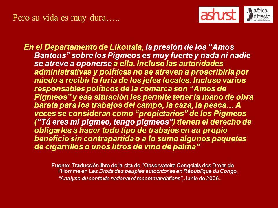 En el Departamento de Likouala, la presión de los Amos Bantous sobre los Pigmeos es muy fuerte y nada ni nadie se atreve a oponerse a ella. Incluso la