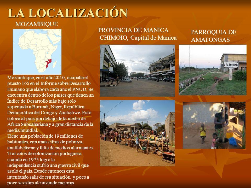 EL CONTEXTO JUGUETES ARTESANALES EN AMATONGAS Chimoio, capital de la provincia de Manica donde se localiza Amatongas tiene 1,200.000 habitantes y se divide en cuatro parroquias estando Amatongas en la de Centro-Este.