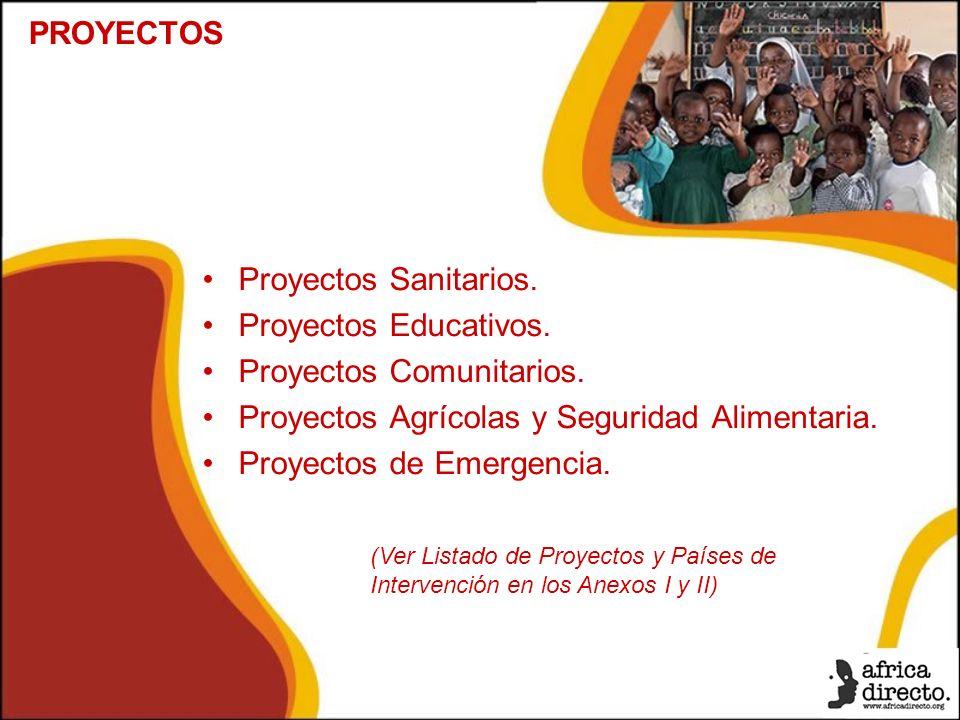 Proyectos Sanitarios. Proyectos Educativos. Proyectos Comunitarios.