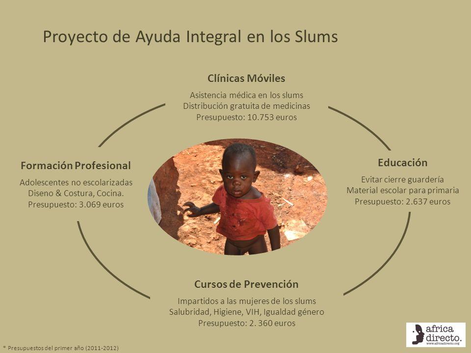Clínicas Móviles Asistencia médica en los slums Distribución gratuita de medicinas Presupuesto: 10.753 euros Educación Evitar cierre guardería Materia