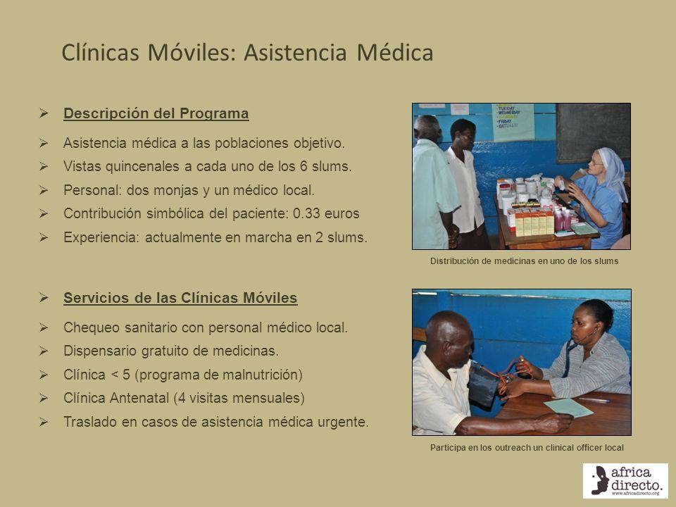 Clínicas Móviles: Asistencia Médica Participa en los outreach un clinical officer local Distribución de medicinas en uno de los slums Descripción del