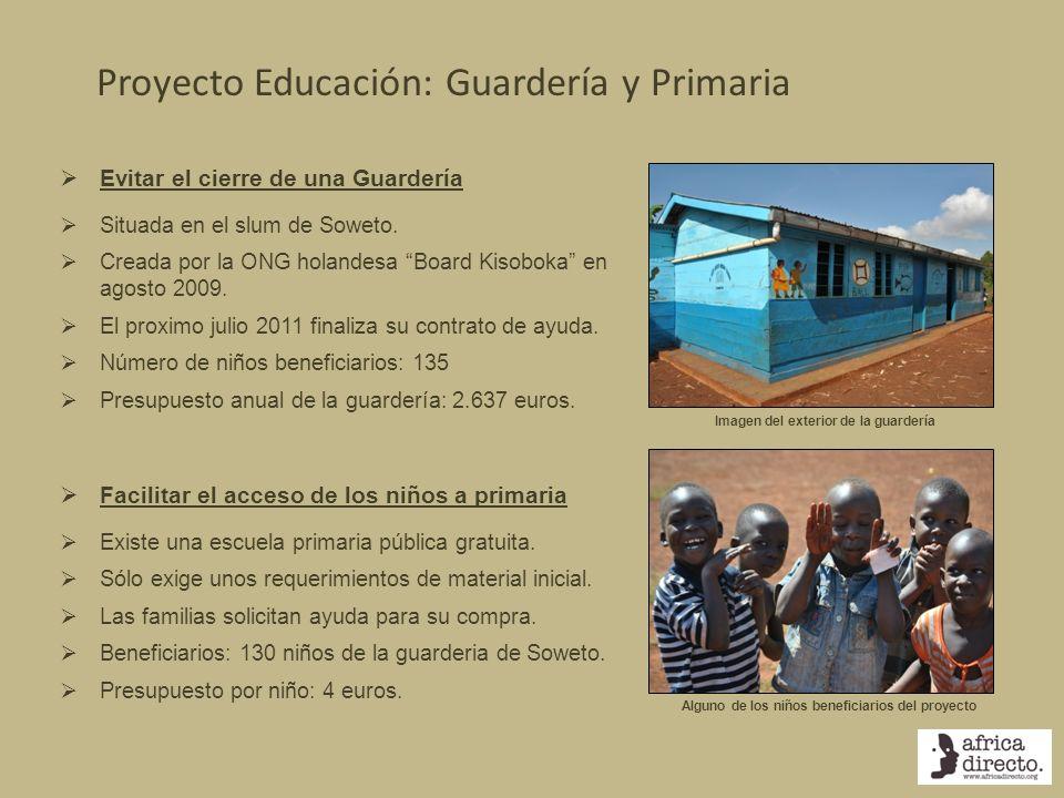 Proyecto Educación: Guardería y Primaria Evitar el cierre de una Guardería Situada en el slum de Soweto. Creada por la ONG holandesa Board Kisoboka en