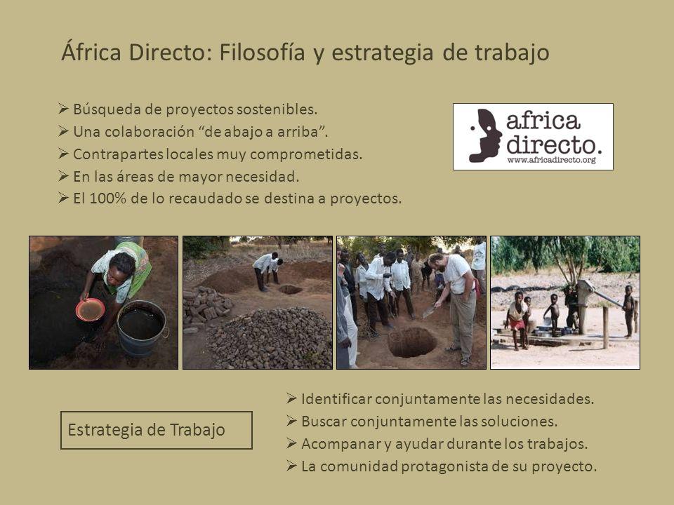 África Directo: Filosofía y estrategia de trabajo Búsqueda de proyectos sostenibles. Una colaboración de abajo a arriba. Contrapartes locales muy comp