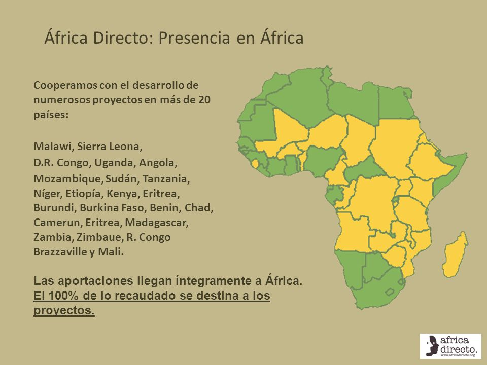 África Directo: Presencia en África Cooperamos con el desarrollo de numerosos proyectos en más de 20 países: Malawi, Sierra Leona, D.R. Congo, Uganda,