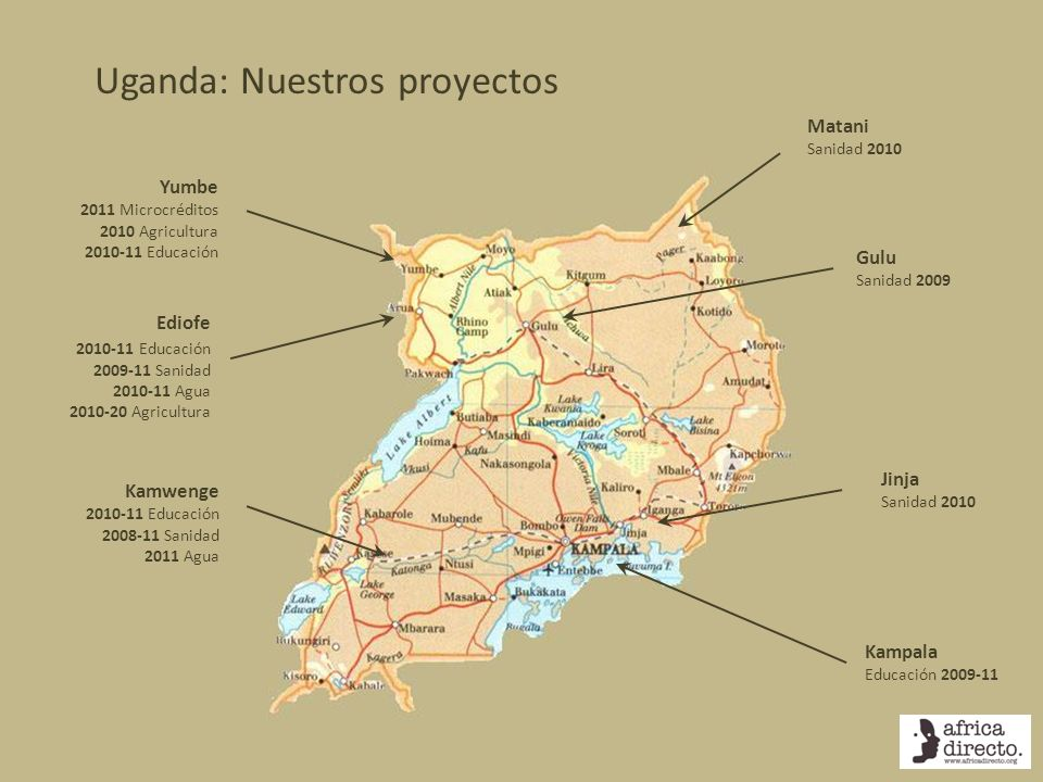 Uganda: Nuestros proyectos Yumbe 2011 Microcréditos 2010 Agricultura 2010-11 Educación Ediofe 2010-11 Educación 2009-11 Sanidad 2010-11 Agua 2010-20 A