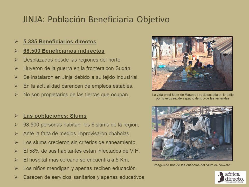 JINJA: Población Beneficiaria Objetivo 5.385 Beneficiarios directos 68.500 Beneficiarios indirectos Desplazados desde las regiones del norte. Huyeron