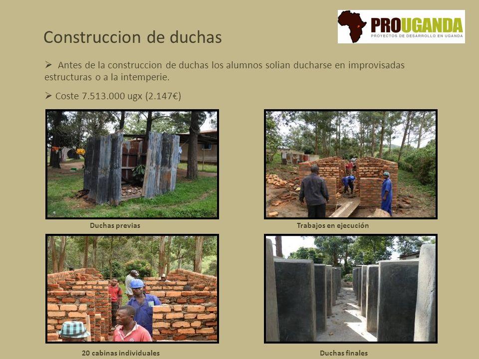 Construccion de duchas Trabajos en ejecución 20 cabinas individuales Antes de la construccion de duchas los alumnos solian ducharse en improvisadas estructuras o a la intemperie.