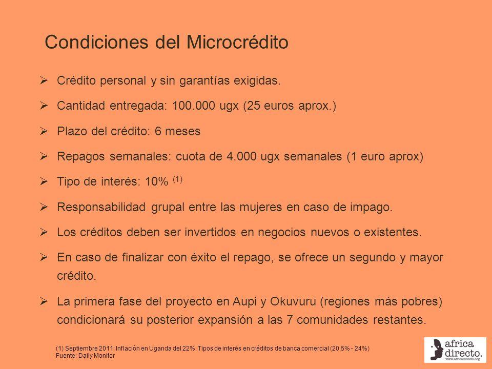 Condiciones del Microcrédito Crédito personal y sin garantías exigidas. Cantidad entregada: 100.000 ugx (25 euros aprox.) Plazo del crédito: 6 meses R