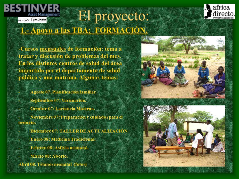 El proyecto: 1.- Apoyo a las TBA: FORMACIÓN.
