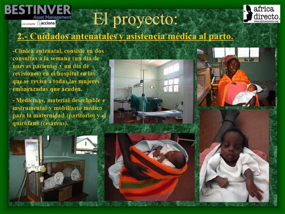 El proyecto: 2.- Cuidados antenatales y asistencia médica al parto.