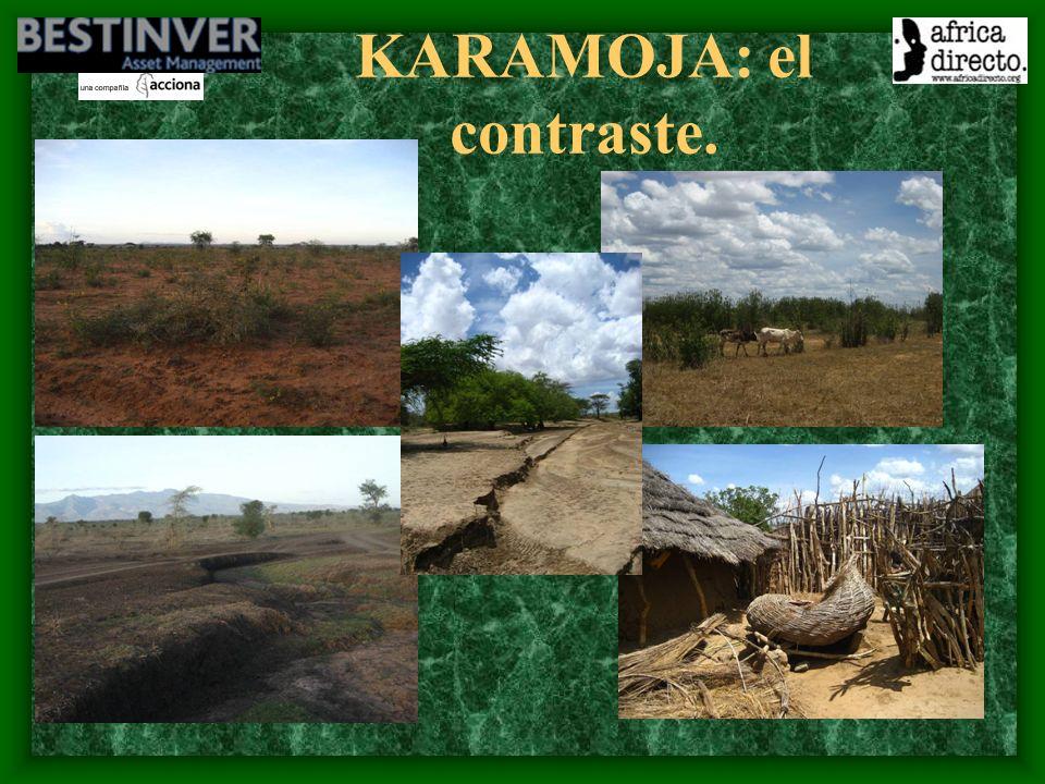 Su población: los karimojones Seminómadas en busca del agua.