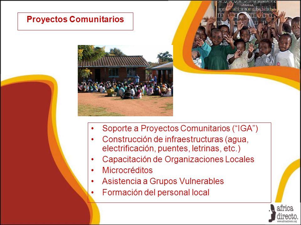 Proyectos Comunitarios Soporte a Proyectos Comunitarios (IGA) Construcción de infraestructuras (agua, electrificación, puentes, letrinas, etc.) Capacitación de Organizaciones Locales Microcréditos Asistencia a Grupos Vulnerables Formación del personal local