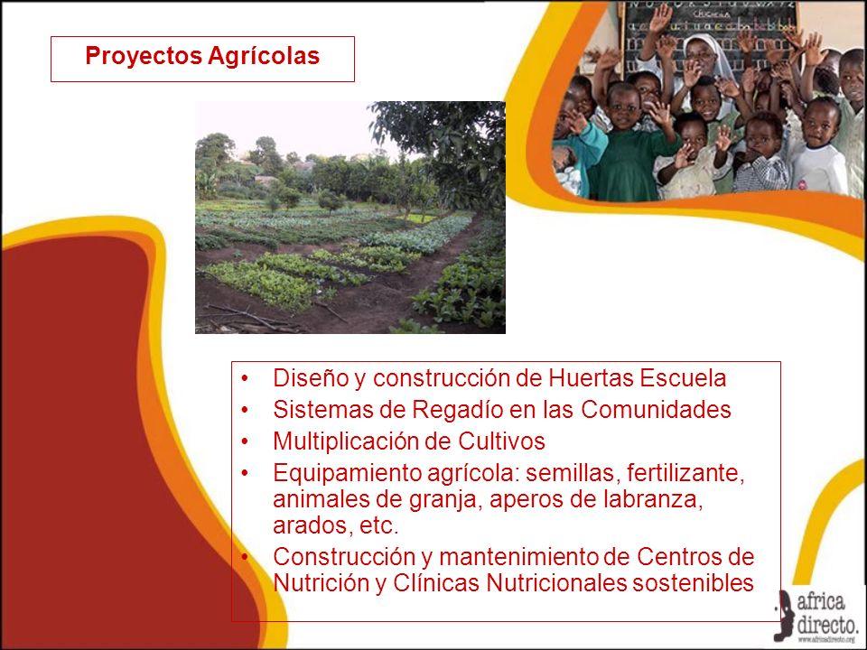 Proyectos Agrícolas Diseño y construcción de Huertas Escuela Sistemas de Regadío en las Comunidades Multiplicación de Cultivos Equipamiento agrícola: