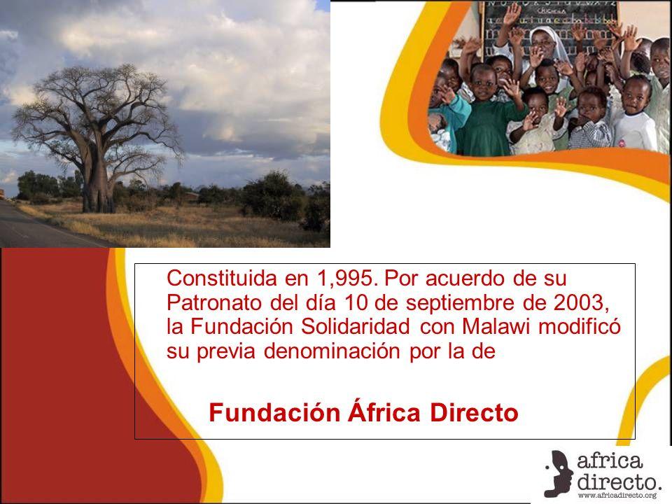 Constituida en 1,995. Por acuerdo de su Patronato del día 10 de septiembre de 2003, la Fundación Solidaridad con Malawi modificó su previa denominació