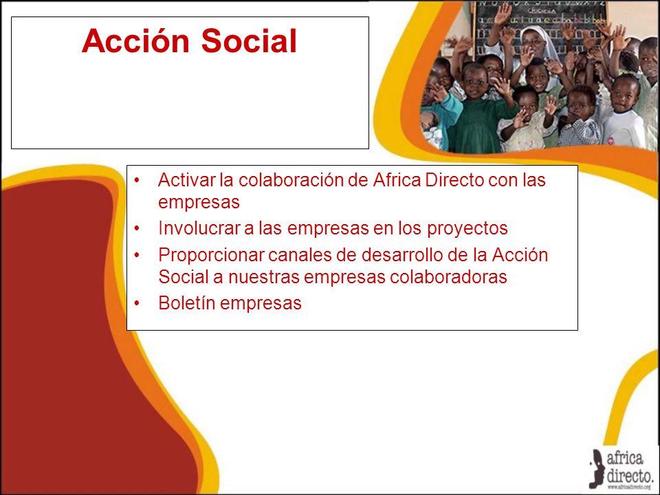 Acción Social Activar la colaboración de Africa Directo con las empresas Involucrar a las empresas en los proyectos Proporcionar canales de desarrollo