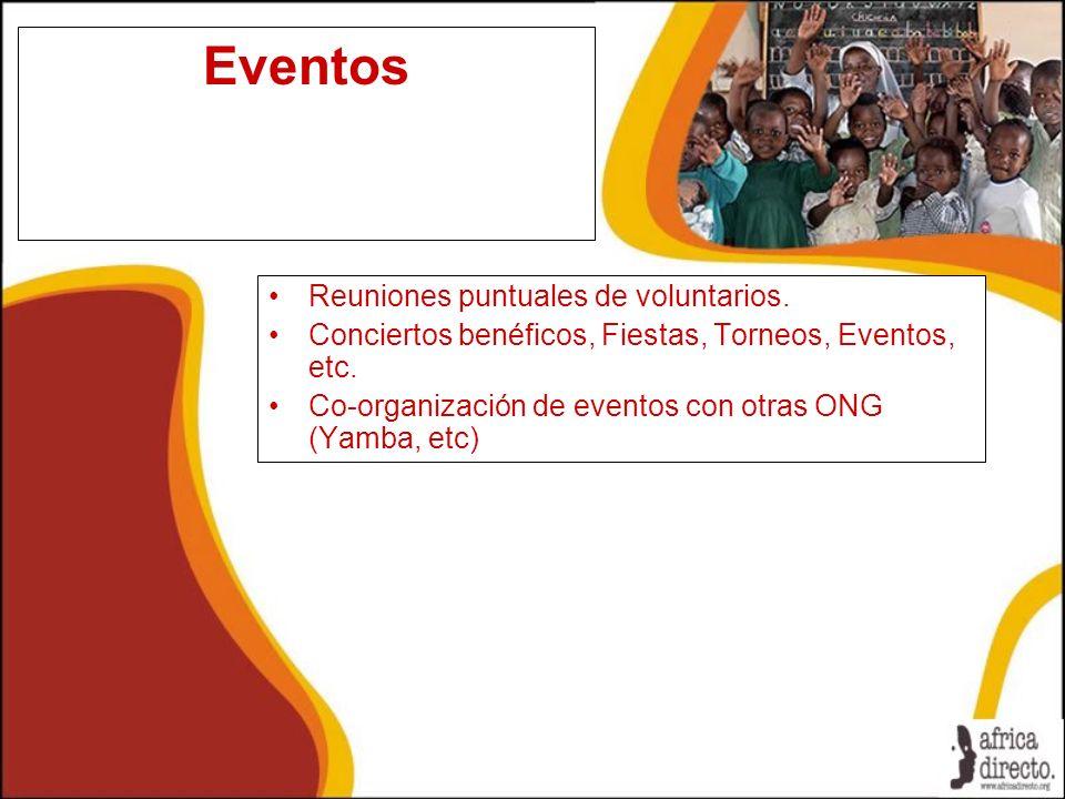 Eventos Reuniones puntuales de voluntarios. Conciertos benéficos, Fiestas, Torneos, Eventos, etc. Co-organización de eventos con otras ONG (Yamba, etc
