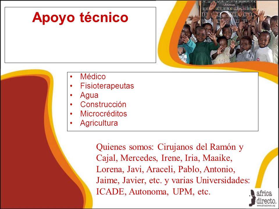 Apoyo técnico Médico Fisioterapeutas Agua Construcción Microcréditos Agricultura Quienes somos: Cirujanos del Ramón y Cajal, Mercedes, Irene, Iria, Ma