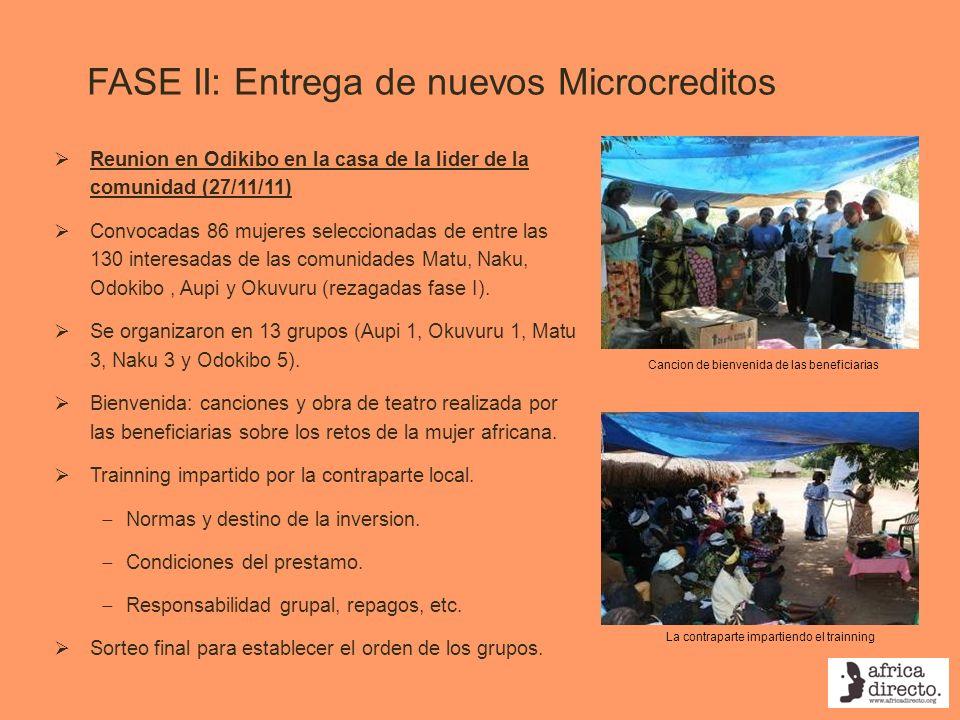 FASE II: Entrega de nuevos Microcreditos Reunion en Odikibo en la casa de la lider de la comunidad (27/11/11) Convocadas 86 mujeres seleccionadas de e
