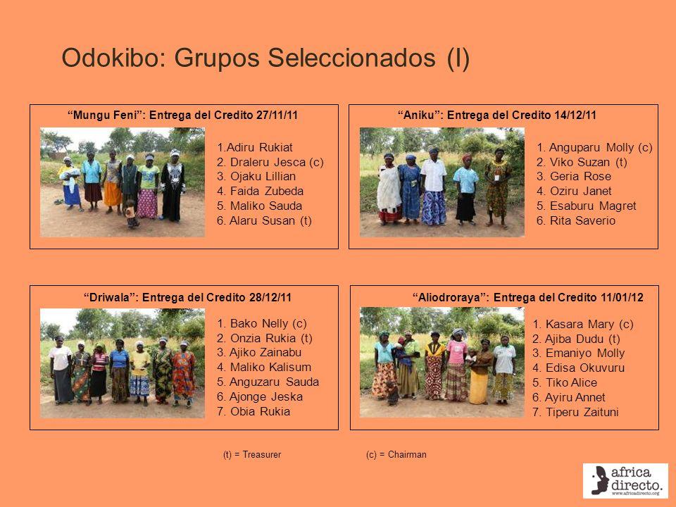 Odokibo: Grupos Seleccionados (I) Driwala: Entrega del Credito 28/12/11 Mungu Feni: Entrega del Credito 27/11/11 1.Adiru Rukiat 2. Draleru Jesca (c) 3
