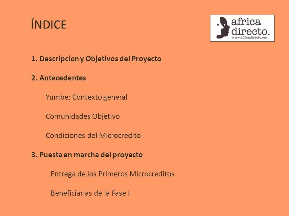 ÍNDICE 1. Descripcion y Objetivos del Proyecto 2. Antecedentes Yumbe: Contexto general Comunidades Objetivo Condiciones del Microcredito 3. Puesta en