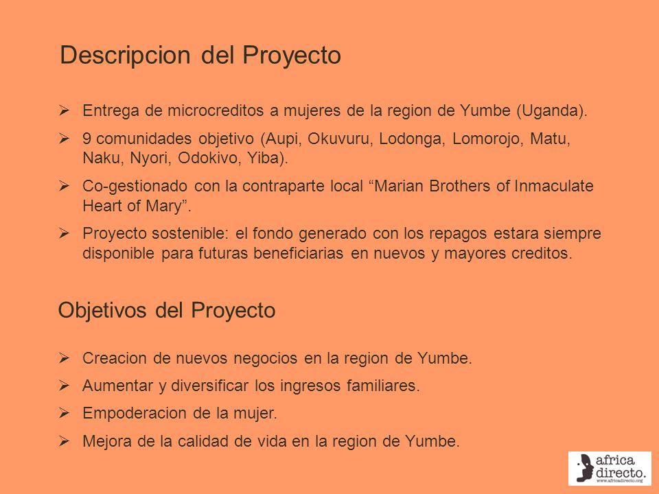 Descripcion del Proyecto Entrega de microcreditos a mujeres de la region de Yumbe (Uganda). 9 comunidades objetivo (Aupi, Okuvuru, Lodonga, Lomorojo,